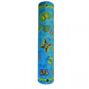 Yair Emanuel Large Hand Painted Wood Mezuzah Case - Colorful Butterflies