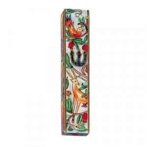 Yair Emanuel Small Hand Painted Wood Mezuzah Case - Deer and Birds
