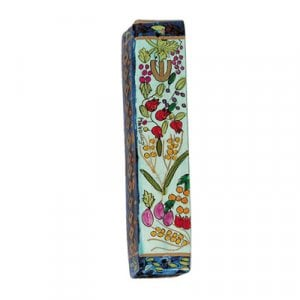 Yair Emanuel Small Hand Painted Wood Mezuzah Case - Seven Species