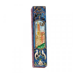 Yair Emanuel Small Hand Painted Wood Mezuzah Case - Tower of David on Blue