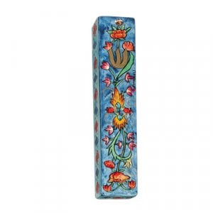 Yair Emanuel Small Hand Painted Wood Mezuzah Case - Floral Design