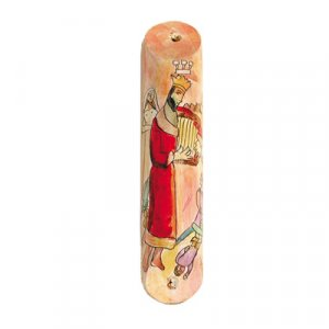 Yair Emanuel Small Hand Painted Wood Mezuzah Case - King David's Harp