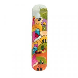 Yair Emanuel Small Hand Painted Wood Mezuzah Case - Dove over Jerusalem