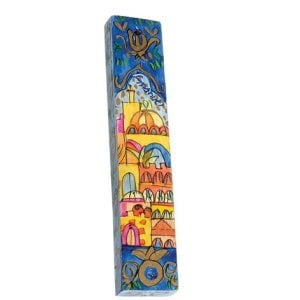 Yair Emanuel Small Hand Painted Wood Mezuzah Case - Jerusalem Panorama
