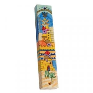 Yair Emanuel Small Hand Painted Wood Mezuzah Case - Golden Jerusalem
