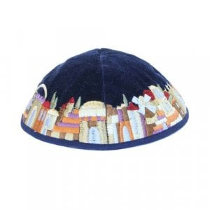 Yair Emanuel Blue Velvet Kippah, Embroidered Jerusalem Images - Colorful
