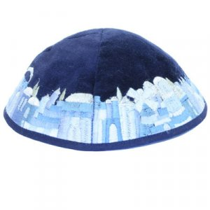 Yair Emanuel Blue Velvet Kippah, Embroidered Jerusalem Images - Shades of Blue