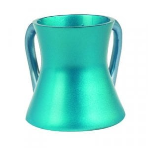 Yair Emanuel Gleaming Aluminum Small Hourglass Wash Cup - Turquoise