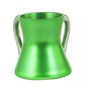 Yair Emanuel Gleaming Aluminum Small Hourglass Wash Cup - Green