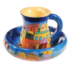 Yair Emanuel Hand Painted Wood Two-Piece Mayim Achronim Set - Jerusalem