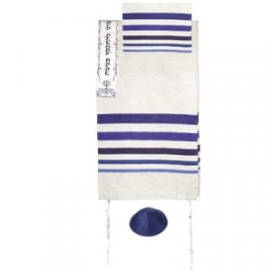 Yair Emanuel Hand Woven Silk Tallit Set, Embroidered Atara – Blue Stripes - 1 in stock