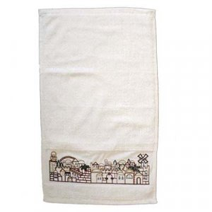 Yair Emanuel Cotton Netilat Yadayim Hand Towel - Embroidered Jerusalem Images