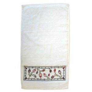 Yair Emanuel Netilat Yadayim Hand Towel - Embroidered Pomegranates