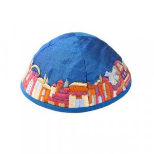 Yair Emanuel Kippah, Embroidered Colorful Jerusalem Images - Blue