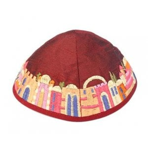 Yair Emanuel Kippah, Embroidered Colorful Jerusalem Images - Maroon