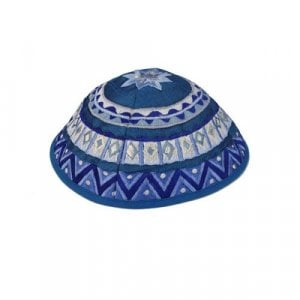 Yair Emanuel Kippah, Embroidered Geometric Designs - Blue
