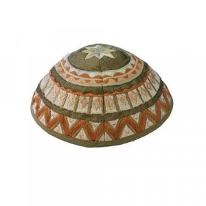 Yair Emanuel Kippah, Embroidered Geometric Designs - Brown and Green