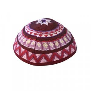 Yair Emanuel Kippah, Embroidered Geometric Designs - Maroon