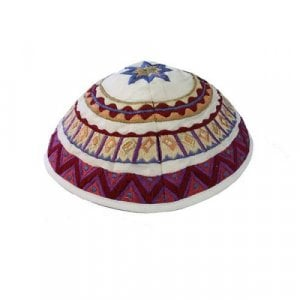Yair Emanuel Kippah, Embroidered Geometric Designs - Multicolored