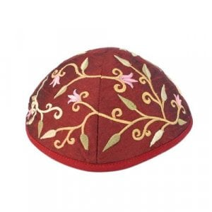 Yair Emanuel Kippah, Embroidered Flowers and Leaves - Maroon