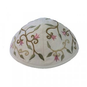 Yair Emanuel Kippah, Embroidered Flowers and Leaves - White