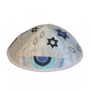 Yair Emanuel Kippah, Embroidered Judaica Symbols - Blue