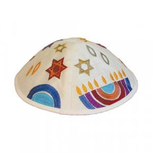 Yair Emanuel Kippah, Embroidered Judaica Symbols - Multicolored