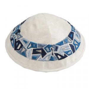 Yair Emanuel Embroidered Kippah, Blue Geometric Shapes Design on Cream