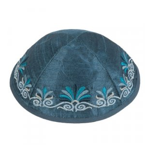 Yair Emanuel Kippah, Embroidered Date Palm Design - Blue