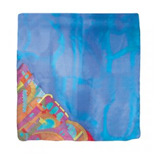 Yair Emanuel Hand Painted Silk Square Scarf - Jerusalem Blue