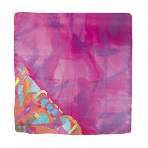 Yair Emanuel Hand Painted Silk Square Scarf - Jerusalem Pink-Purple