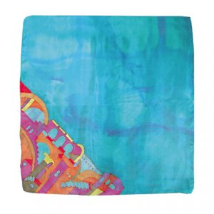 Yair Emanuel Hand Painted Silk Square Scarf - Jerusalem Turquoise