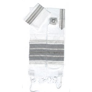 Gabrieli Handwoven White Silk Tallit Set - Black and Silver Stripes