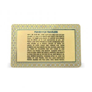 Pocket Velvet Holder with Laminated Cards - Travelers Prayer, English and Hebrew