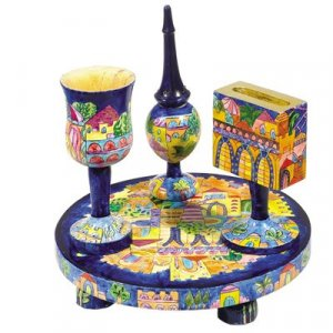 Yair Emanuel Hand-Painted 4-Piece Wood Havdalah Set - Golden Jerusalem