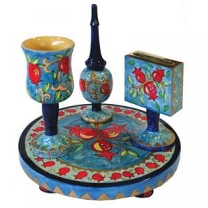 Yair Emanuel Hand-Painted 4-Piece Wood Havdalah Set, Blue - Pomegranates