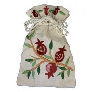 Yair Emanuel Embroidered Silk Havdalah Spice Bag with Cloves - Pomegranates