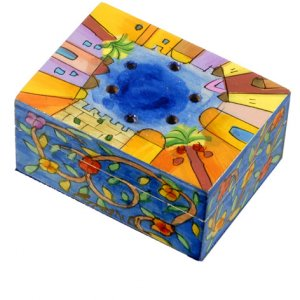 Yair Emanuel Hand Painted Wood Spice Box with Cloves - Jerusalem