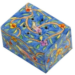 Yair Emanuel Hand Painted Wood Spice Box with Cloves - Oriental Forest
