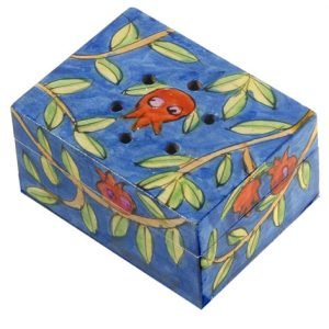 Yair Emanuel Hand Painted Wood Spice Box with Cloves - Pomegranates