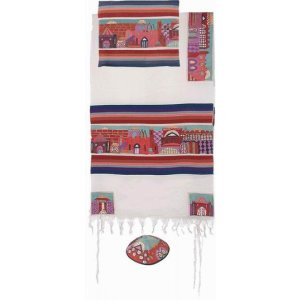 Yair Emanuel Hand Embroidery Woven Cotton Tallit Set, Jerusalem - Red