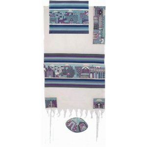 Yair Emanuel Hand Embroidered Woven Cotton Tallit Set, Jerusalem - Blue