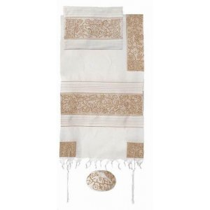 Yair Emanuel Hand Embroidered Cotton Tallit Set, Flowers & Matriarchs - Gold