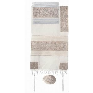 Yair Emanuel Hand Embroidered Cotton Tallit Set, Flowers & Matriarchs - Silver