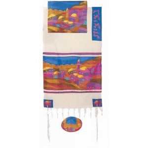 Yair Emanuel Hand Woven Cotton and Silk Tallit Set - Colorful Jerusalem Images