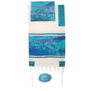 Yair Emanuel Woven Cotton and Silk Tallit Set, Turquoise - Jerusalem Views