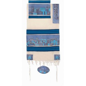 Yair Emanuel Woven Cotton Hand Painted Silk Tallit Set - Blue Jerusalem Images