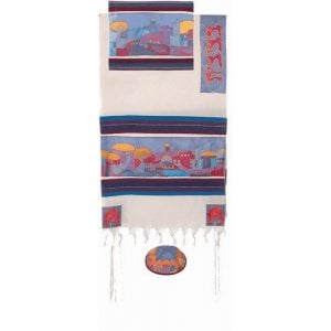 Yair Emanuel Woven Cotton and Silk Tallit Set, Colorful - Jerusalem Images