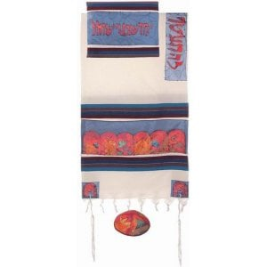Yair Emanuel Woven Cotton and Hand Painted Silk Tallit Set, Colorful - Twelve Tribes