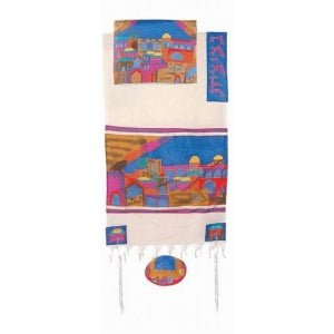 Yair Emanuel Woven Cotton and Silk Tallit Set, Colorful - Jerusalem